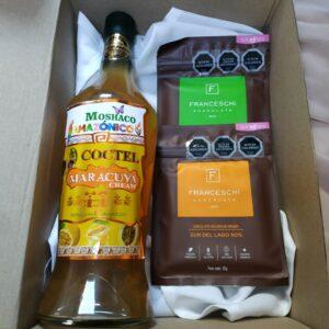 box regalo licor maracuya y 2 chocolate franceschi
