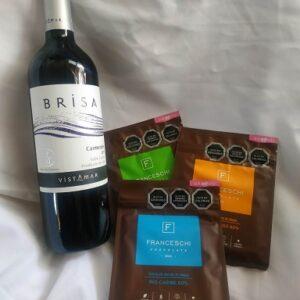 Vino tinto y 3 chocolates franceschi