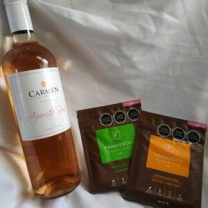 vino rose y 2 chocolates franceschi