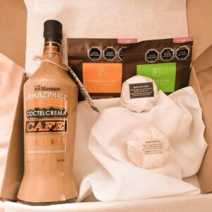 box regalo licor cafe y 2 chocolates franceschi y 2 exfoliantes jabon arunas