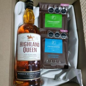 box regalo whisky Highland y 2 chocolates franceschi